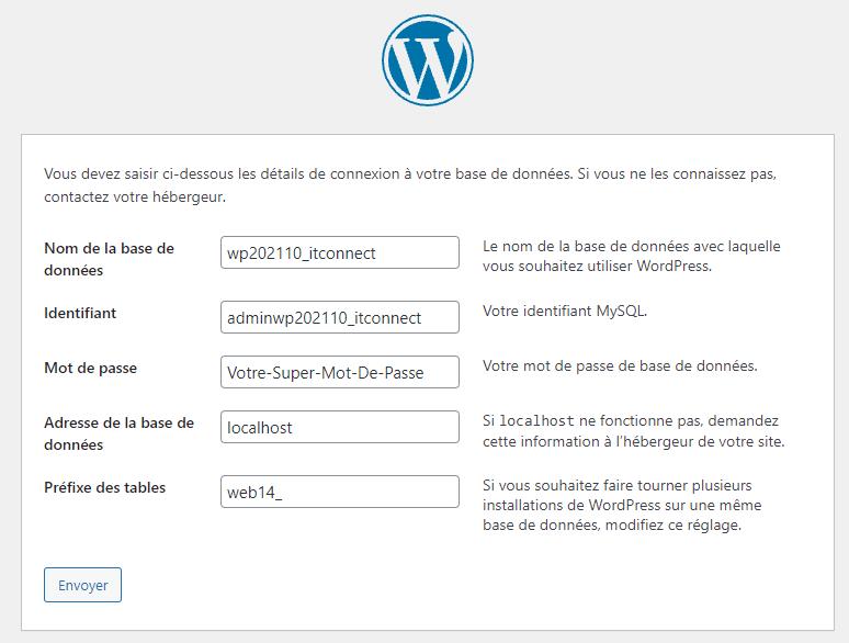 Indiquez à WordPress comment il doit se connecter à votre base de données.