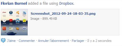 Partage via Dropbox sur Facebook