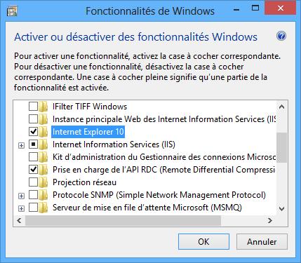 Décocher Internet Explorer 10