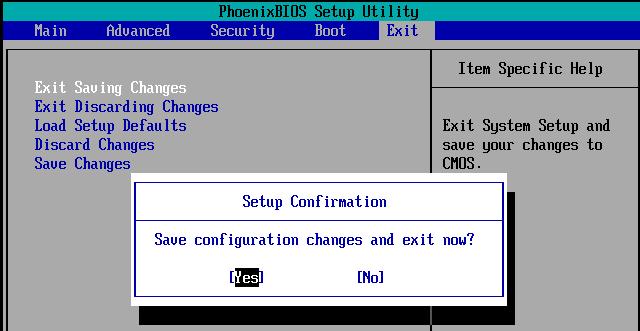 Sauvegarder modification BIOS