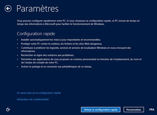 Paramètres Windows 8
