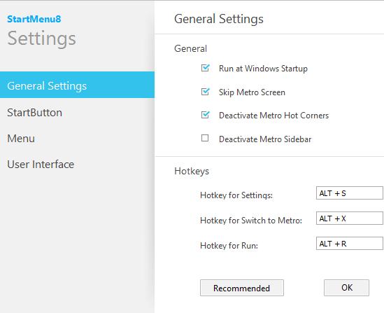 Configuration StartMenu8