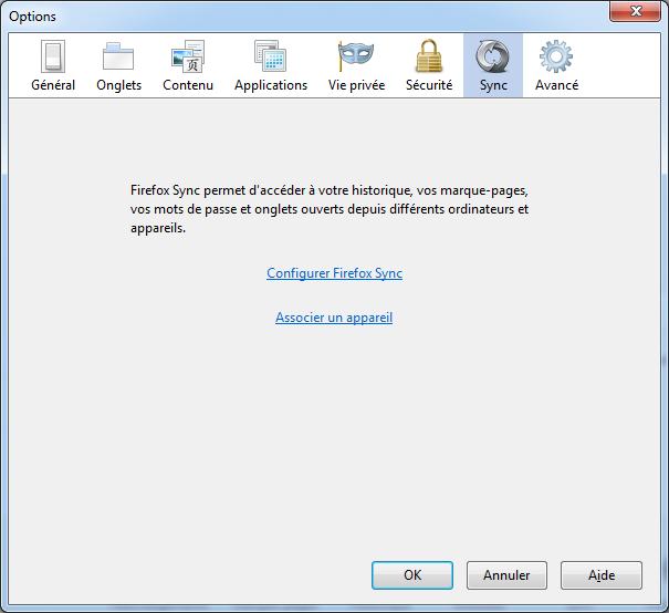 Configurer Firefox Sync