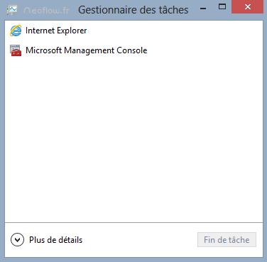 Gestionnaire des tâches réduit Windows 8