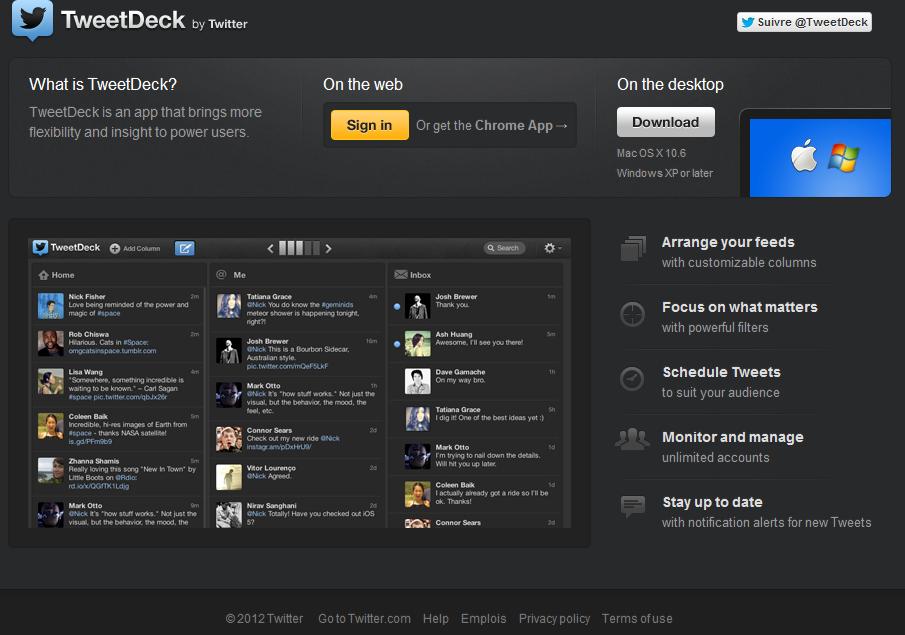 Interface tweetdeck
