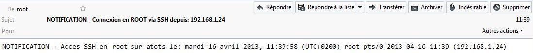 Exemple d'alerte SSH