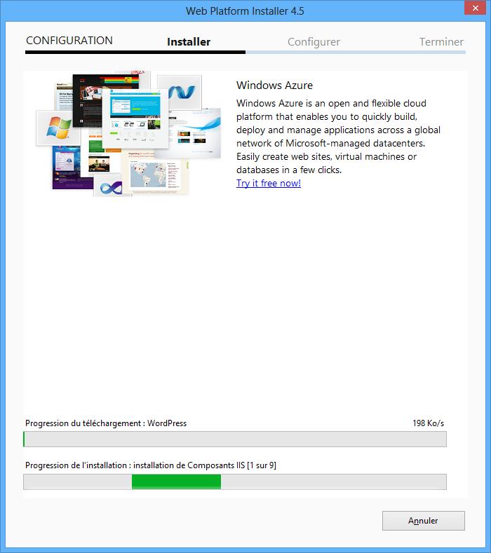 téléchargement de l'assistant d'installation mysql