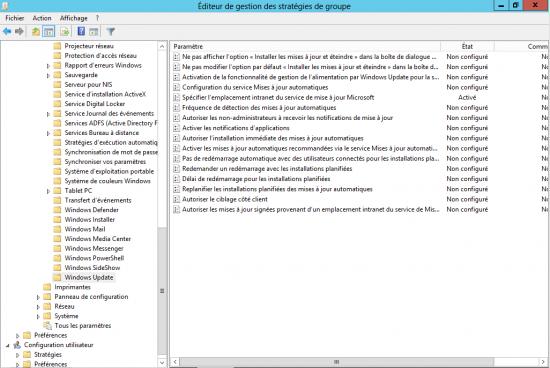 Emplacement intranet Windows Update