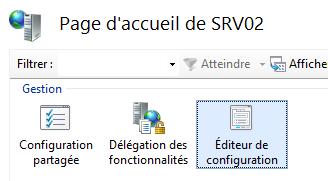 Editeur de configuration IIS