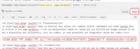 Mettre une vidéo Youtube dans une page WordPress