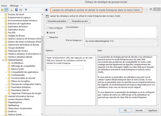 Laisser les utilisateurs activer et utiliser le mode Entreprise dans le menu Outils