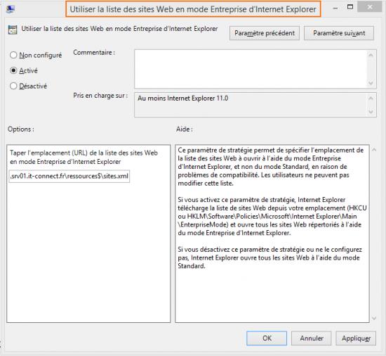 Utiliser la liste des sites Web en mode Entreprise d'Internet Explorer