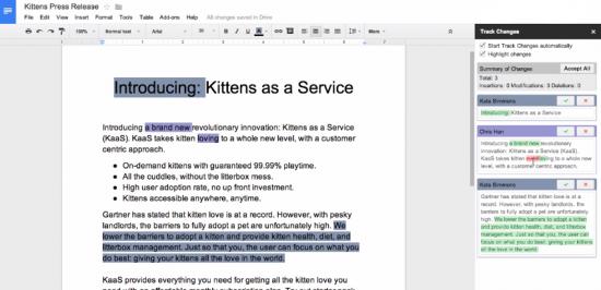 Plug-in Track Changes pour Google Docs
