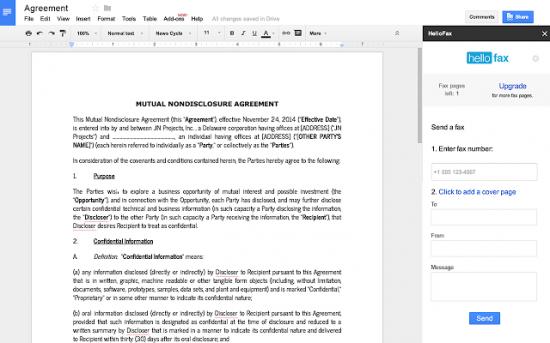 Plug-in HelloFax pour Google Docs