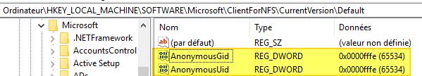 Registre Windows : les valeurs AnonymousGid et AnonymousUid
