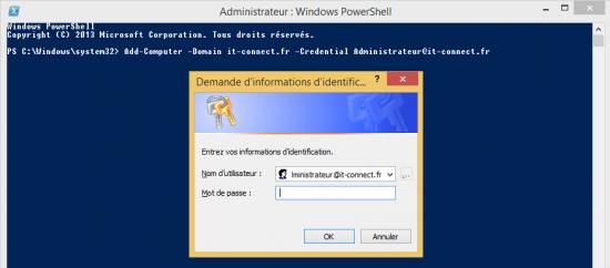 Demande du mot de passe lors de l'utilisation de Add-Computer