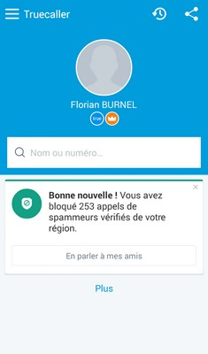 TrueCaller : Page d'accueil de l'application