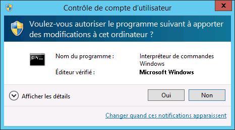 Exemple UAC Windows