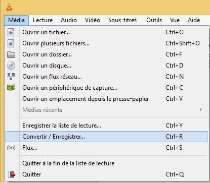 """VLC - Option """"Convertir / Enregistrer"""""""