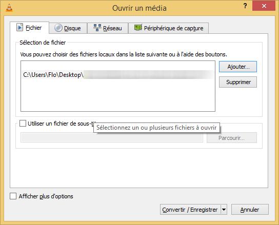 Ajouter un fichier à convertir dans VLC