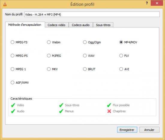 Codecs disponibles dans VLC pour convertir