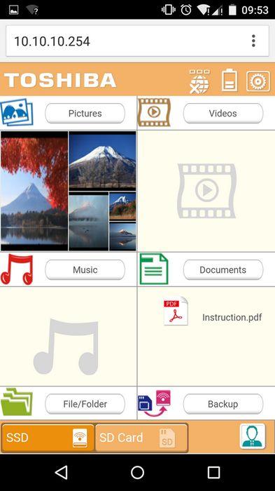 Toshiba Aero Mobile - Aperçu de l'interface sur smartphone