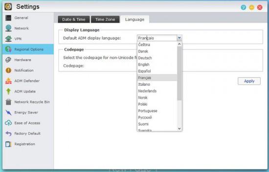 Asustor AS5002T - Modifier la langue