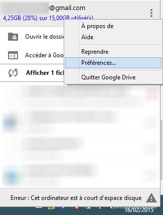 Accès aux préférences de Google Drive