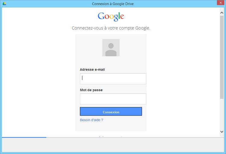 Saisissez vos identifiants de connexion à Google Drive