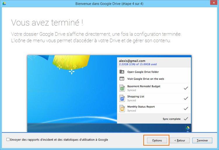Modification du dossier pour synchroniser Google Drive