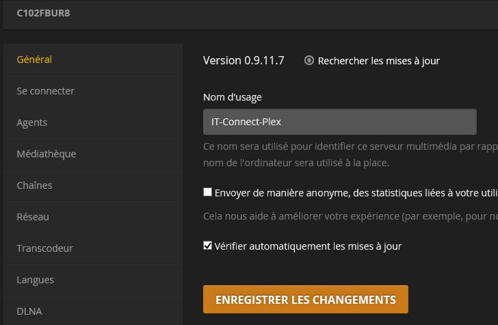 Configurer le serveur Plex