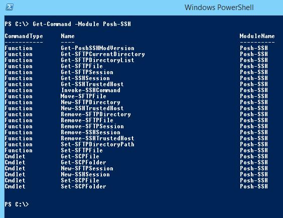 Commandes disponibles dans le module Posh-SSH
