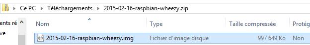 Extraire l'image de Raspbian