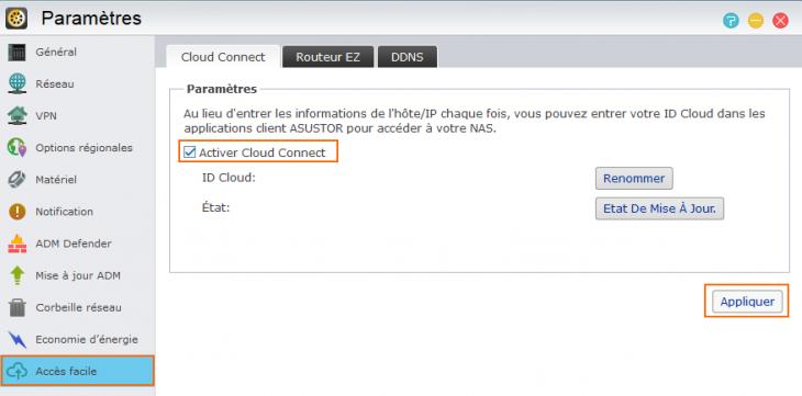 Activer Cloud Connect sur l'OS Asustor