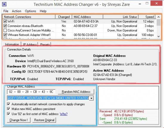 interface principale tmac Windows