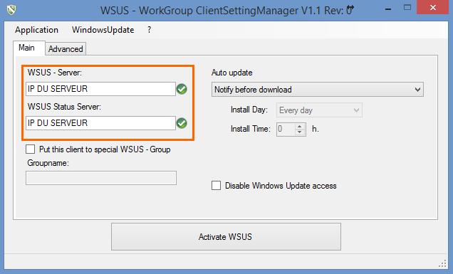 Définir l'adresse IP du serveur dans le WSUS Client