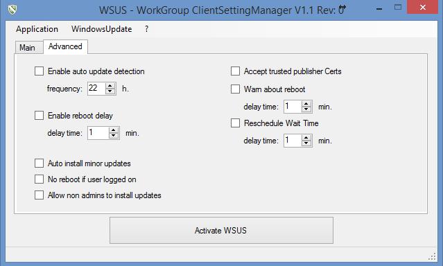 Paramètres avancés du WSUS Client