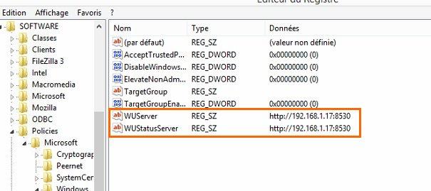 L'impact dans le registre du WSUS Client