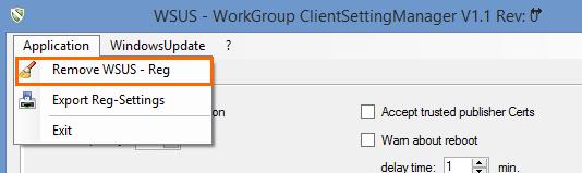 Supprimer la configuration du WSUS Client
