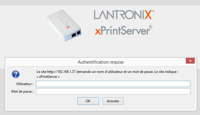 Connexion à l'interface xPrintServer