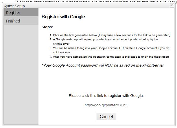 S'enregistrer sur Google Cloud Print