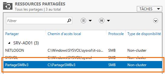 """Le partage """"PartageSMBv3"""" est bien créé !"""