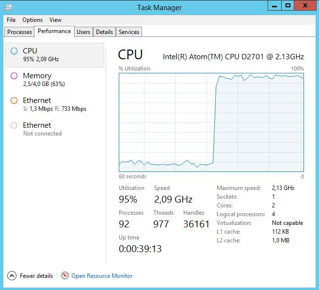 Charge CPU pendant un transfert SMB de gros fichiers (4 Go)