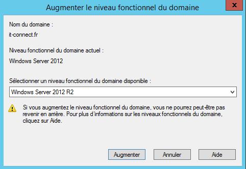 """Augmenter le niveau fonctionnel du domaine via la console """"Utilisateurs et ordinateurs Active Directory"""""""