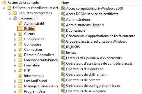 Console Utilisateurs et ordinateurs Active Directory
