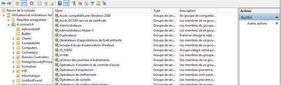 Console de gestion de l'Active Directory