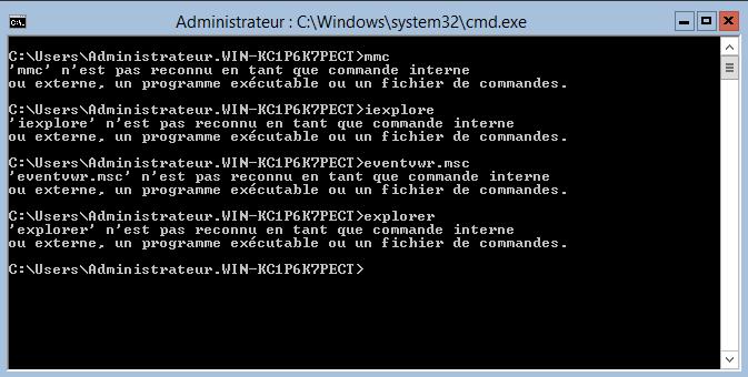 Avec Windows Server Core, certains outils ne sont pas installés