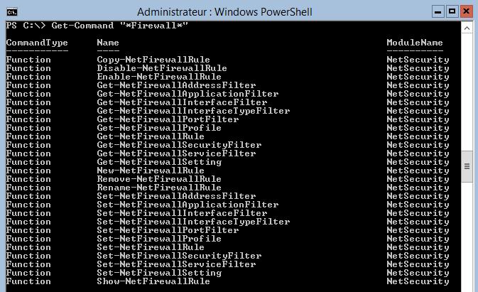 Liste des commandes PowerShell dédiées au pare-feu