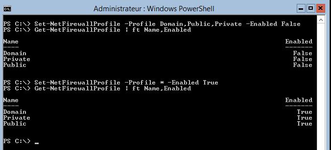 Activer ou désactiver le pare-feu avec Set-NetFirewallProfile