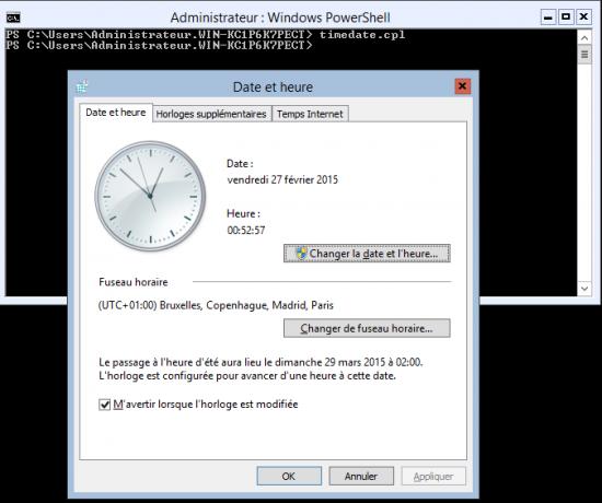 Configuration avec timedate.cpl